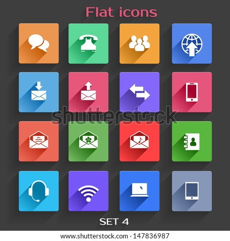 Vector Application  Communication Icons Set in Flat Design with Long Shadows - stock vector