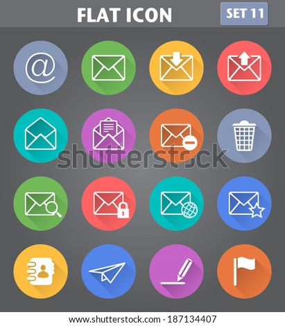 Vector application Envelope, E-mail Icons set in flat style with long shadows. - stock vector