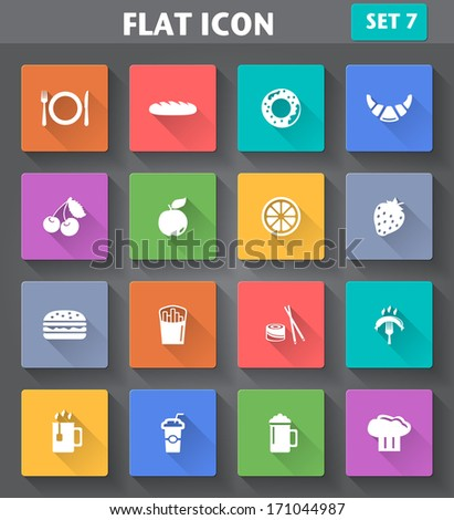 Vector application Food and Drink set in flat style with long shadows. - stock vector