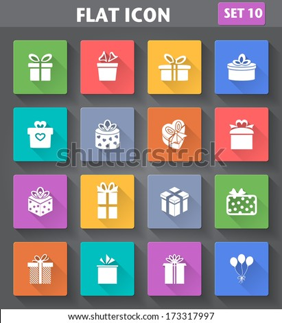 Vector application Gift Icons set in flat style with long shadows. - stock vector