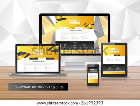 Vector application template design for gadgets with black, yellow  elements of structure. Elements of stationery. Eps 10 - stock vector