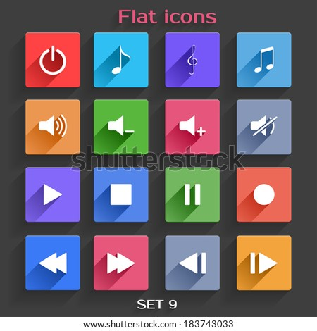 Vector Application Web Icons Set in Flat Design with Long Shadows - stock vector