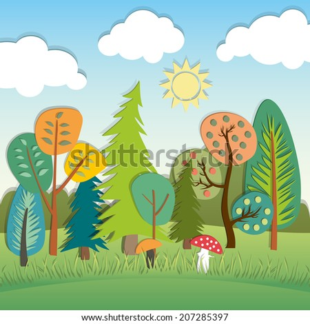 Vector applique with summer cartoon landscape - stock vector