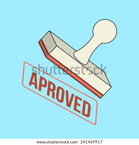 Vector Approved Stamp Flat Line Icon - stock vector