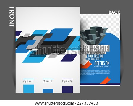 Vector Architecture and Real Estate Front & Back Flyer Template, Poster Cover,Brochure Design. - stock vector
