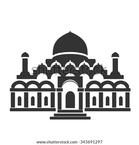 Vector architecture building symbol, historical building, black icon of mosque, temple    - stock vector