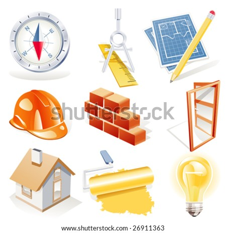 Vector architecture detailed icon set - stock vector