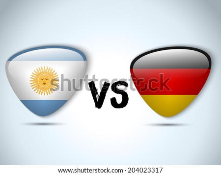 Vector - Argentina versus Germany Flag Soccer Game - stock vector