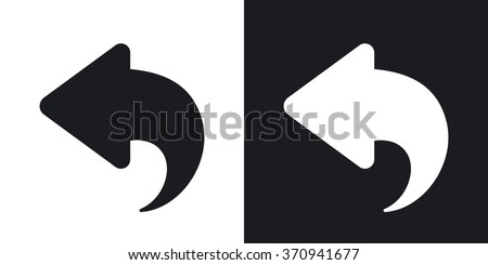 Vector arrow back icon. Two-tone version on black and white background - stock vector