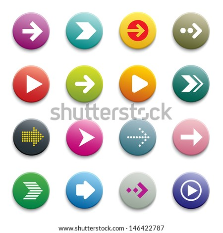 vector arrow button set - stock vector