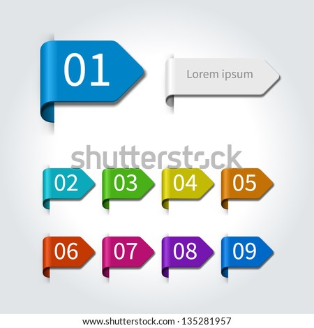 Vector arrow labels and numbers design template for web site. Vector illustration. - stock vector