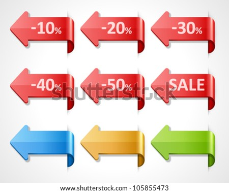 Vector arrow sale stickers set. 10, 20, 30, 40, 50 percent sale. Transparent shadow easy replace background and edit colors. - stock vector