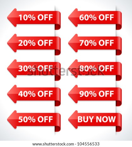 Vector arrow sale stickers set. Transparent shadow easy replace background and edit colors. - stock vector