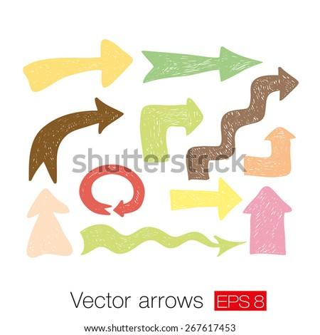 Vector arrow set. Vector illustration with warm pastel colors - stock vector