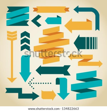 vector arrows and ribbons - stock vector