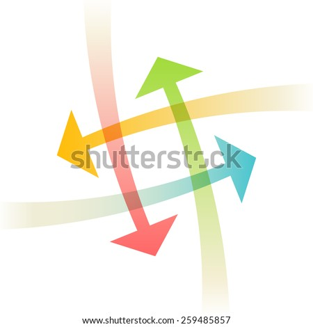 Vector arrows. Sign for logo design template. Color icon with concept of communication, exchange of information, search for compromise, problem solving. Abstract illustration for web, print - stock vector