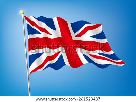 Vector art flags waving illustration:United Kingdom / England /Britain - stock vector
