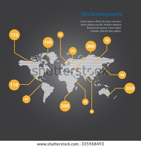Vector art graphic illustration of wolrd infographic - stock vector