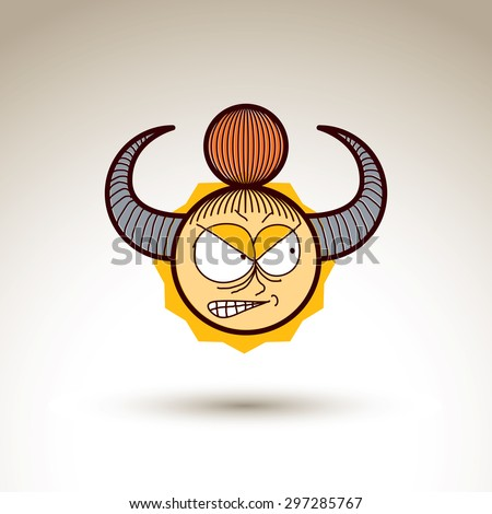 Vector art hand drawn illustration of angry person. Girl temperament idea, emotions on woman face. Web avatar for social interaction, allegory drawing.  - stock vector