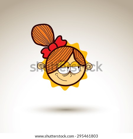 Vector art hand drawn illustration of person. Girl temperament idea, emotions on woman face. Web avatar for social interaction, allegory drawing.  - stock vector