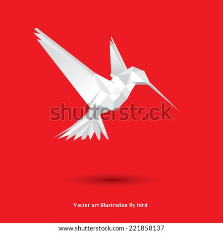 Vector art illustration fly bird /Contemporary spectrum mosaic design element. Abstraction animal hummingbirds card. - stock vector