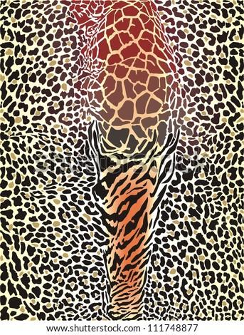 vector art illustration printing wild animal pattern background - stock vector