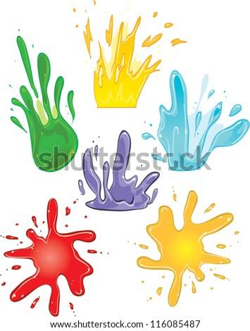vector art splashes of liquid paint color - stock vector