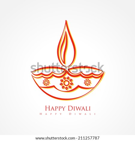vector artistic diwali diya isolated on white background - stock vector