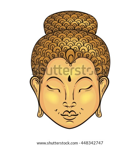 Vector artistically colorful Portrait of Buddha, Buddhism tattoo art, ethnic patterned t-shirt print. Monochrome hand drawn religion illustration in doodle style. - stock vector