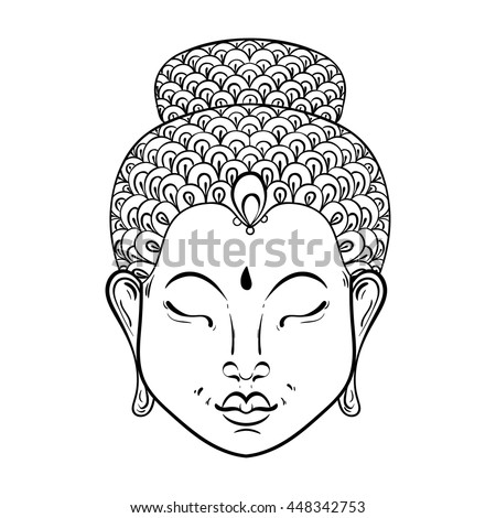 Vector artistically Portrait of Buddha for ornamental adult coloring pages, Buddhism tattoo art, ethnic patterned t-shirt print. Monochrome hand drawn religion illustration in doodle style. - stock vector