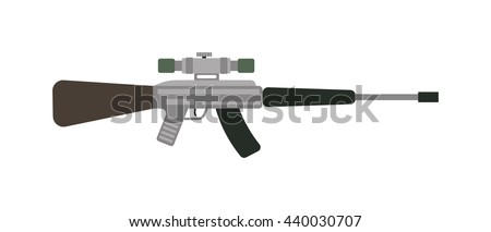 Vector assault rifle heavy sniper futuristic weapon with grenade launcher military large arms carbine gun. - stock vector