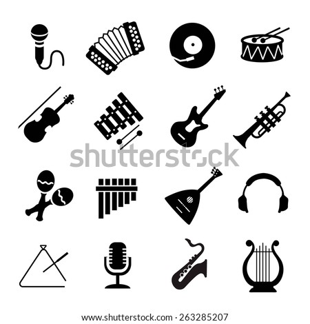 Vector Assorted black musical instruments icons set  on white - stock vector