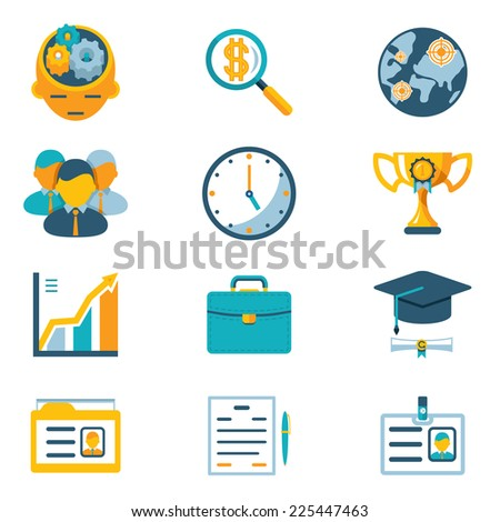 Vector Assorted Colored Business Icons Isolated on White Background - stock vector