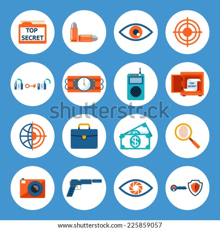 Vector Assorted Spy Accessories and Gadget Icons Isolated on Blue Background. - stock vector