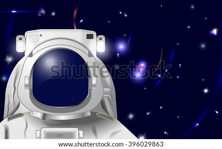 Vector Astronaut Illustration to Put Your Own Face or Reflection in, Eps10 Vector, Gradient Mesh and Transparency Used, Raster Version Available - stock vector