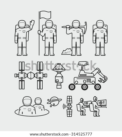 Vector Astronauts Exploration Space Station Icons  - stock vector