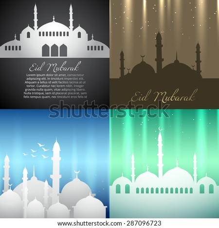 vector attractive background set of ramadan kareem festival illustration - stock vector
