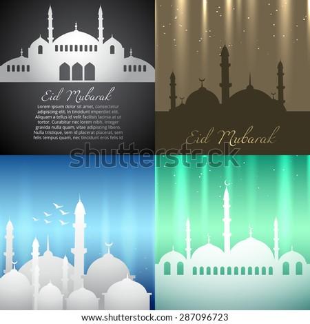 vector attractive background set of ramadan kareem festival illustration - stock vector