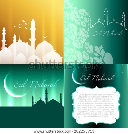 vector attractive set of eid  background festival of muslim with mosque illustration - stock vector