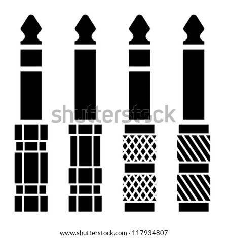 vector audio jack connector black symbols - stock vector