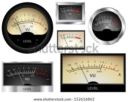 Vector audio VU meters. Different colors and styles.  - stock vector