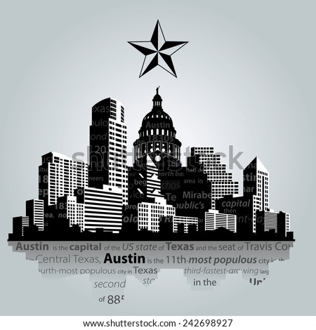 Vector. Austin city, capital of Texas silhouette. - stock vector