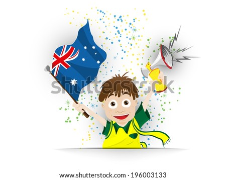 Vector - Australia Soccer Fan Flag Cartoon - stock vector