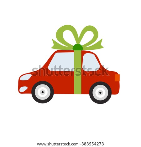 Vector auto concept in flat style. Red automobile with bright green ribbon bow. Car as a gift. Design element for website, mobile app, business - stock vector