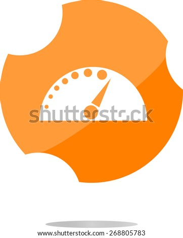 vector automotive tachometer on web button (icon) isolated on white - stock vector
