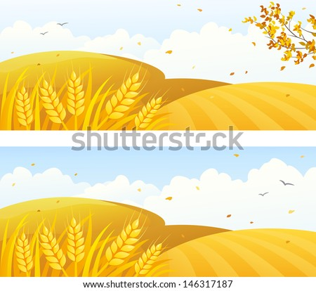 Vector autumn backgrounds with crop fields and falling leaves - stock vector