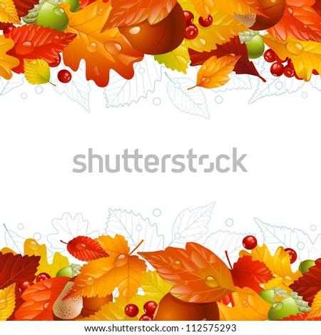 Vector autumn frame with fall leaf, chestnut, acorn and ashberry 8 - stock vector
