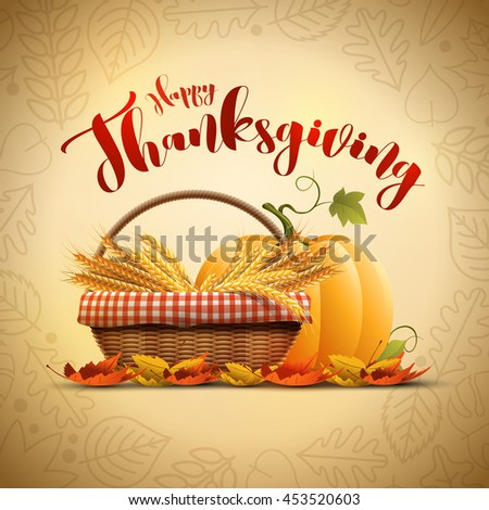 Vector autumn Happy Thanksgiving poster design template. Elements are layered separately in vector file. - stock vector