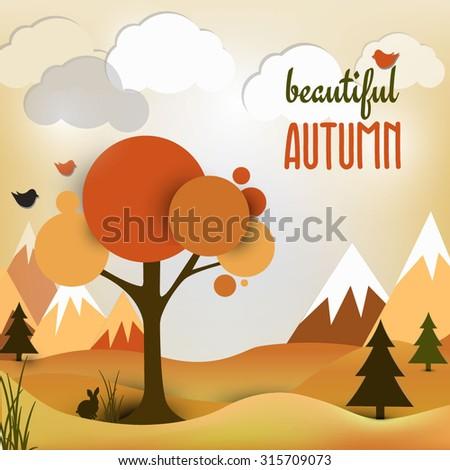 Vector autumn landscape background.Vector illustration. Autumn landscape.  - stock vector