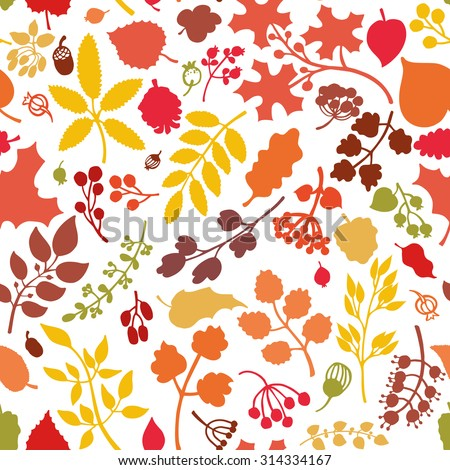 Vector autumn leaf and berries seamless pattern background.Colored Silhouette of berries, leaves,branches,acorn.Fall harvest.Natural wrap ornament, wallpaper  backdrop,textile.Vector Illustration - stock vector